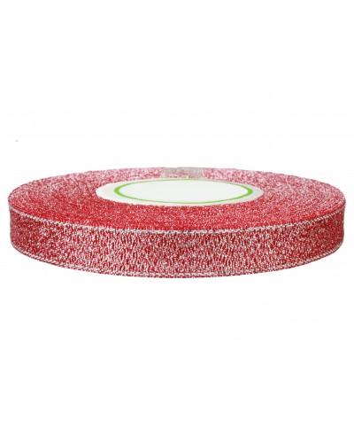 Wstążka tasiemka brokatowa 12mm czerwona