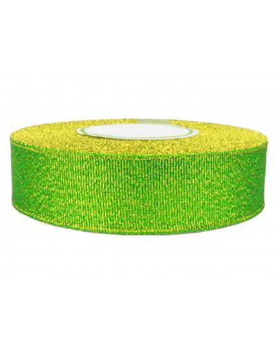Wstążka tasiemka brokatowa 25mm zielona