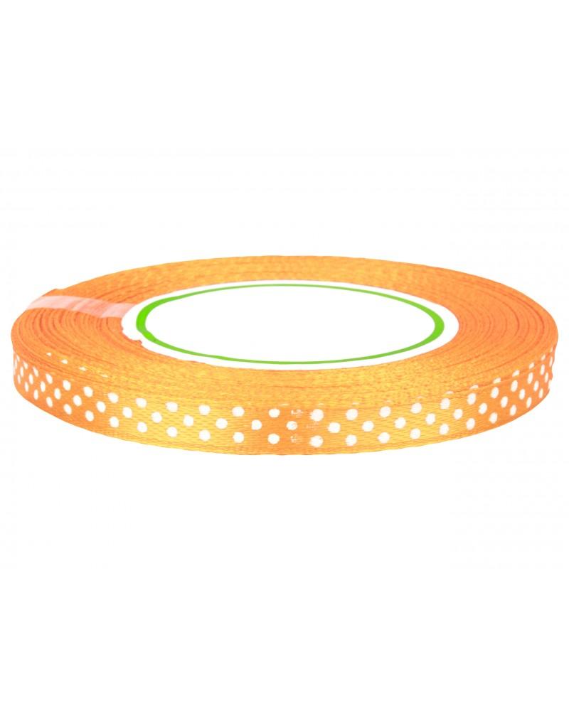 Wstążka w kropki 6mm pomarańczowa