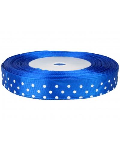 Wstążka tasiemka satynowa w kropki 12mm 25y niebieska