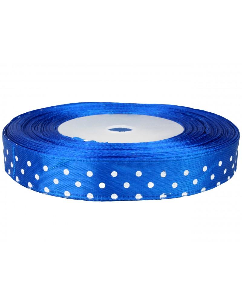 Wstążka w kropki 12mm niebieska