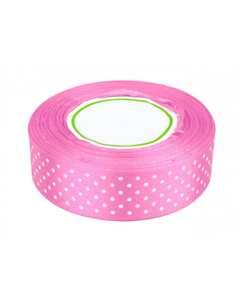 Wstążka w kropki 25mm różowa