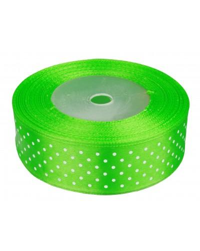Wstążka tasiemka satynowa w kropki 25mm 25y zielona