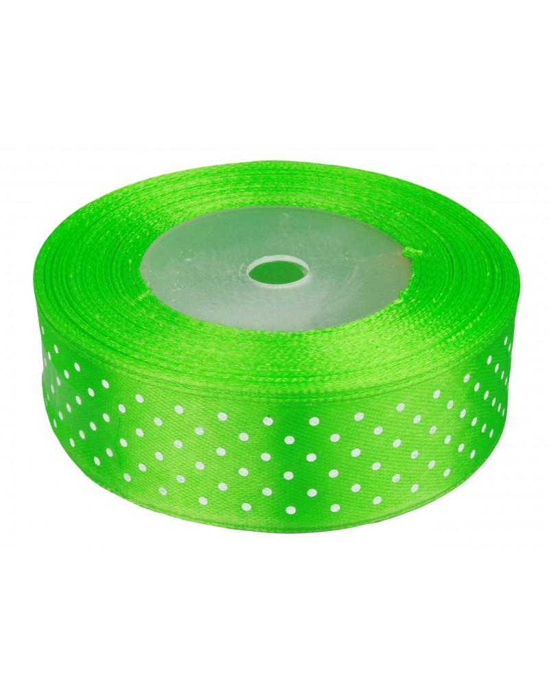 Wstążka w kropki 25mm zielona
