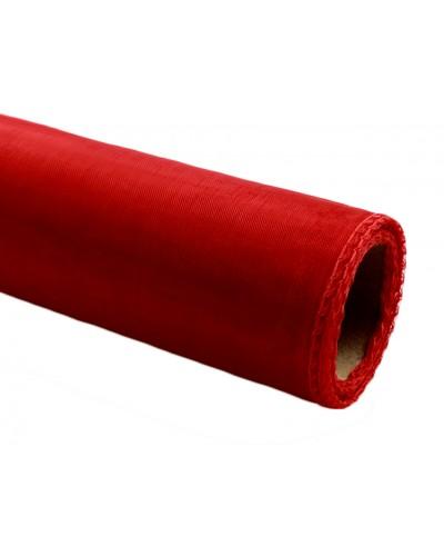 Organza obszywana 40cm x 9m czerwona