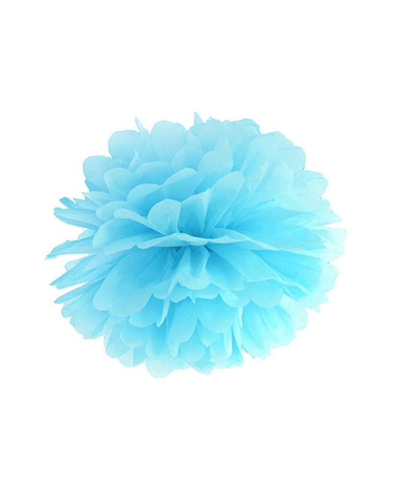 Pompony bibułowe 25cm błękitne