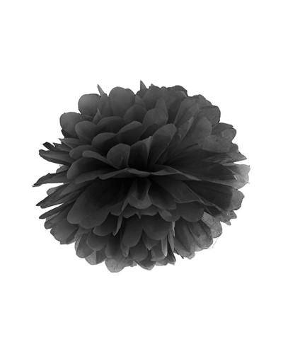 Pompony bibułowe dekoracja sali 25cm czarne