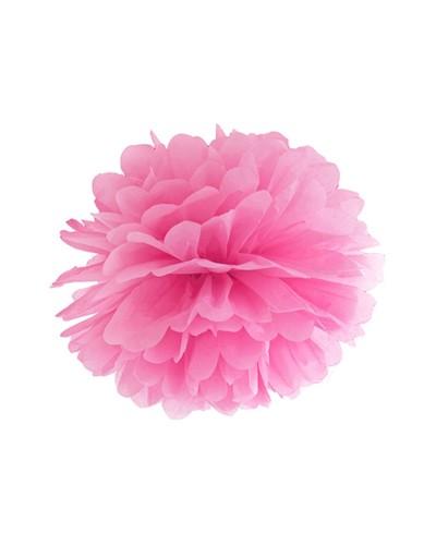 Pompony bibułowe dekoracja sali 25cm różowe
