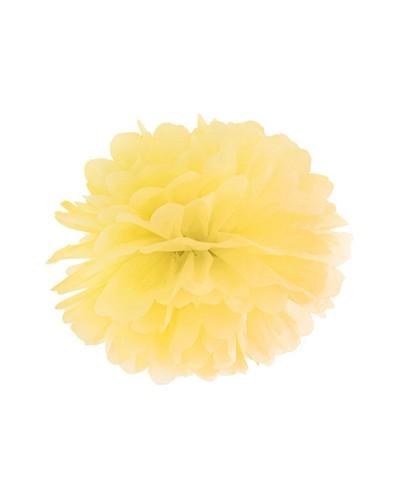 Pompony bibułowe dekoracja sali 25cm żółte