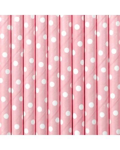 Papierowe słomki w kropki jasnoróżowe