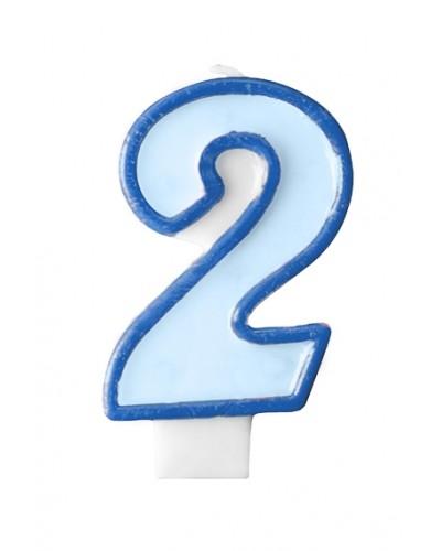 """Świeczka urodzinowa niebieska """"2"""""""