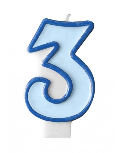 """Świeczka urodzinowa niebieska """"3"""""""