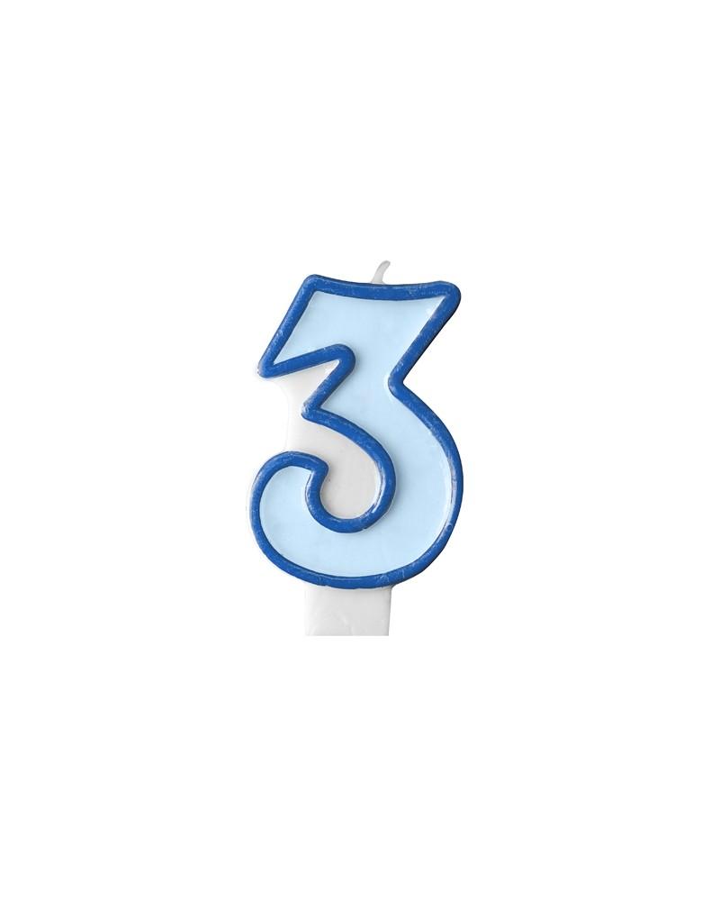 """Świeczka niebieska """"3"""""""