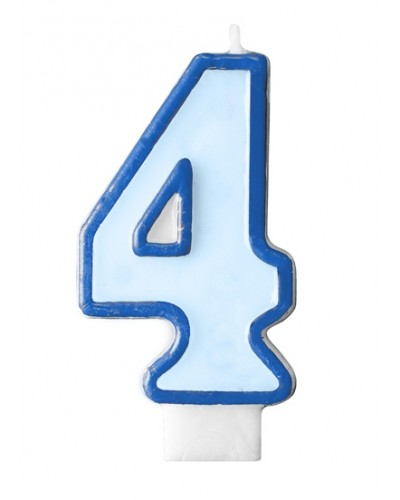 """Świeczka urodzinowa niebieska """"4"""""""