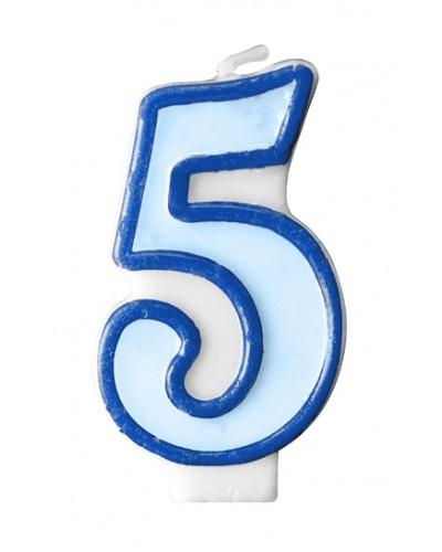 """Świeczka urodzinowa niebieska """"5"""""""