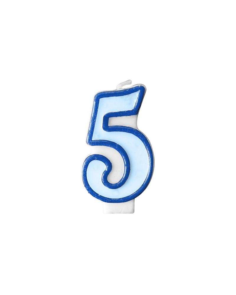 """Świeczka niebieska """"5"""""""
