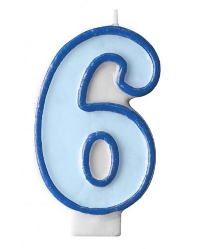 """Świeczka urodzinowa niebieska """"6"""""""