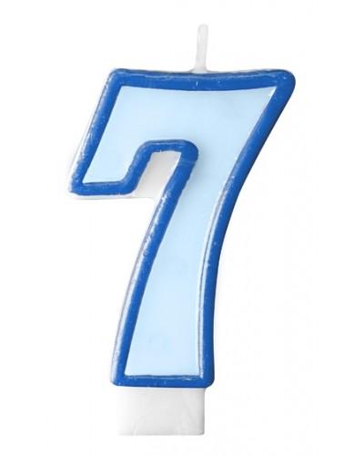 """Świeczka urodzinowa niebieska """"7"""""""