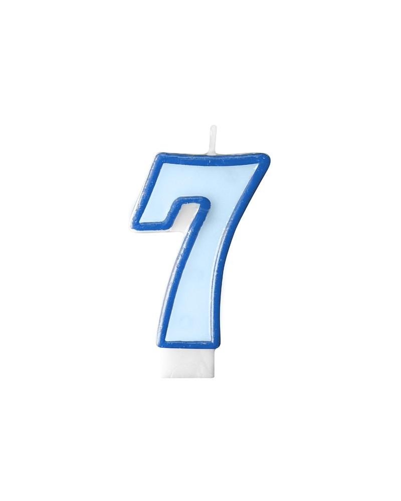 """Świeczka niebieska """"7"""""""