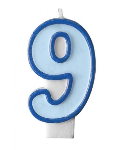 """Świeczka urodzinowa niebieska """"9"""""""