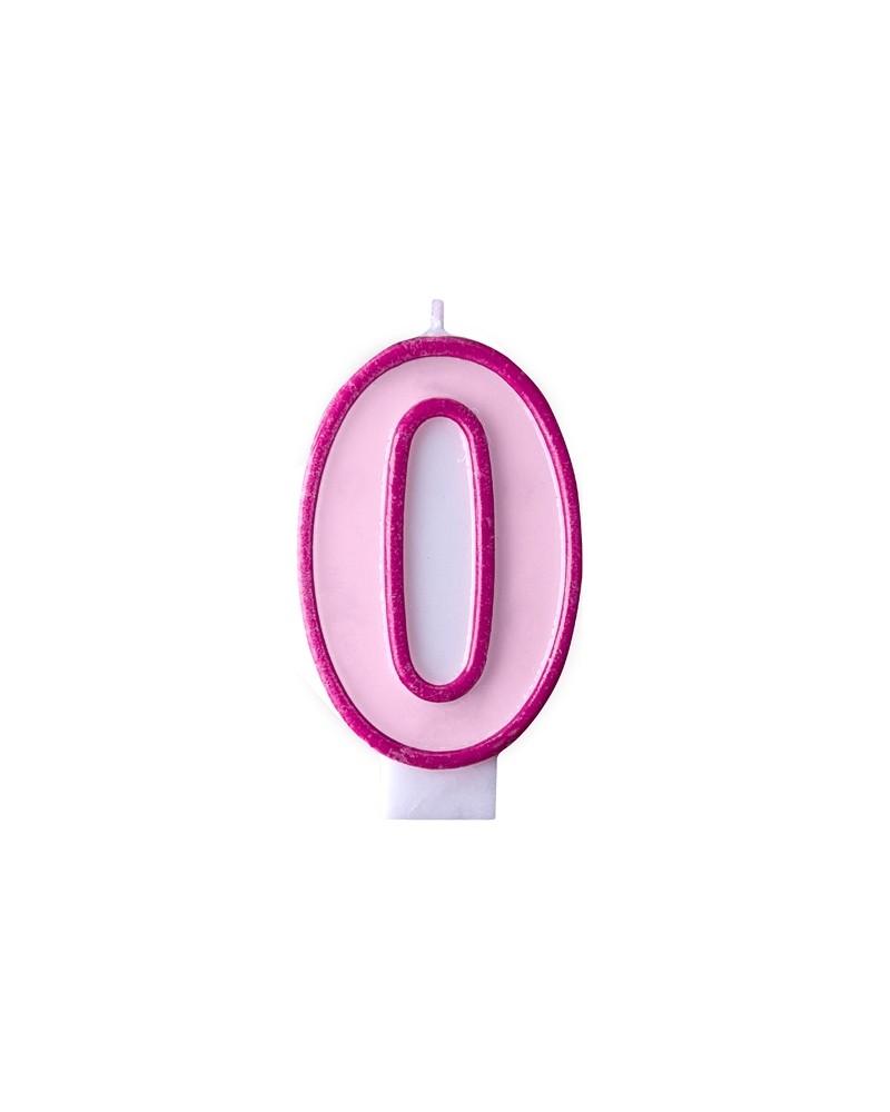 """Świeczka różowa """"0"""""""