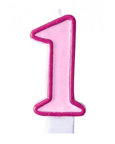 """Świeczka urodzinowa różowa """"1"""""""
