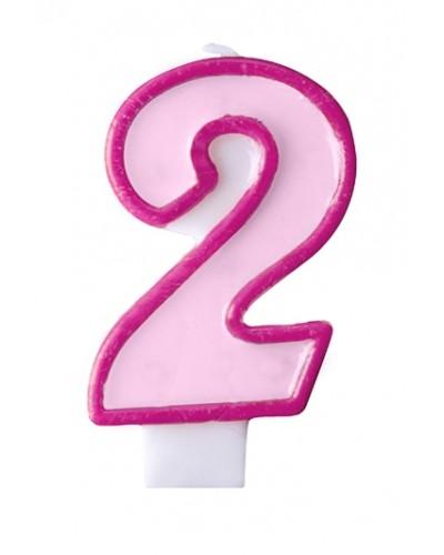 """Świeczka urodzinowa różowa """"2"""""""