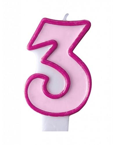 """Świeczka urodzinowa różowa """"3"""""""
