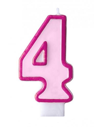 """Świeczka urodzinowa różowa """"4"""""""
