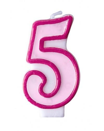 """Świeczka urodzinowa różowa """"5"""""""