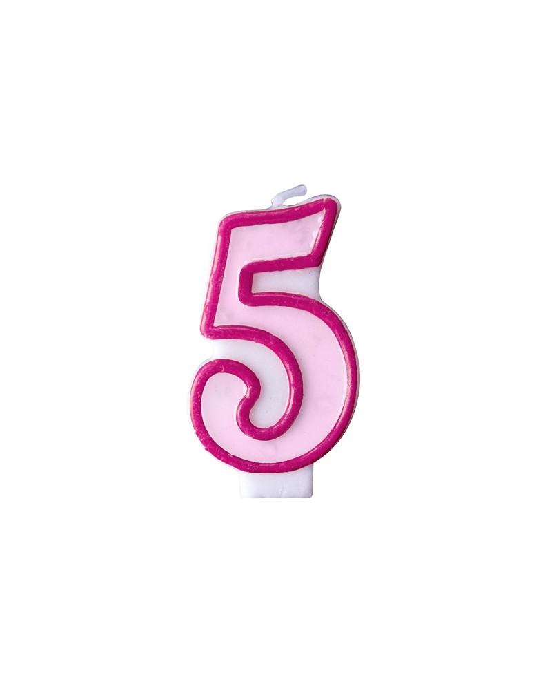 """Świeczka różowa """"5"""""""