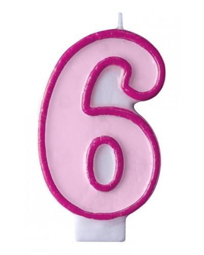 """Świeczka urodzinowa różowa """"6"""""""