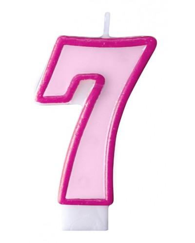 """Świeczka urodzinowa różowa """"7"""""""
