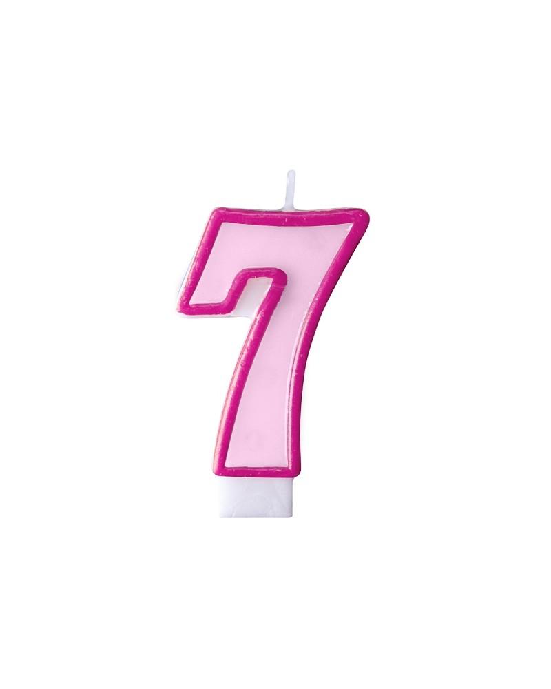 """Świeczka różowa """"7"""""""