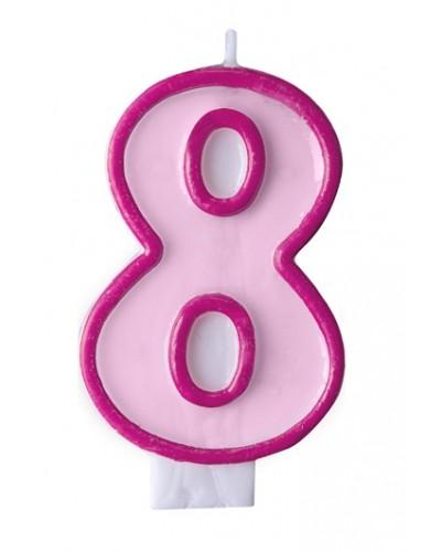 """Świeczka urodzinowa różowa """"8"""""""