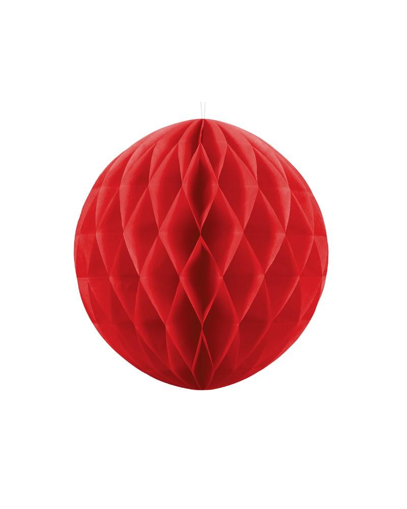 Kula bibułowa Honeycomb 30cm Czerwona