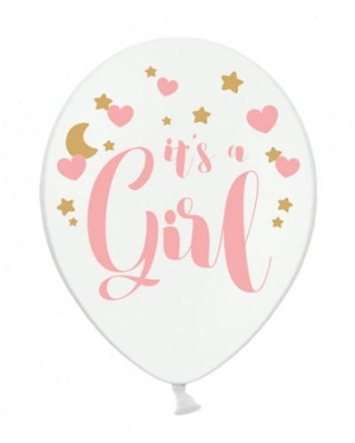 Balon lateksowy It's a Girl Biały