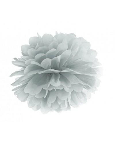 Pompon bibułowy srebrny