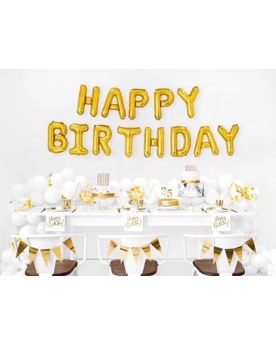 Balon foliowy HAPPY BIRTHDAY napis złoty