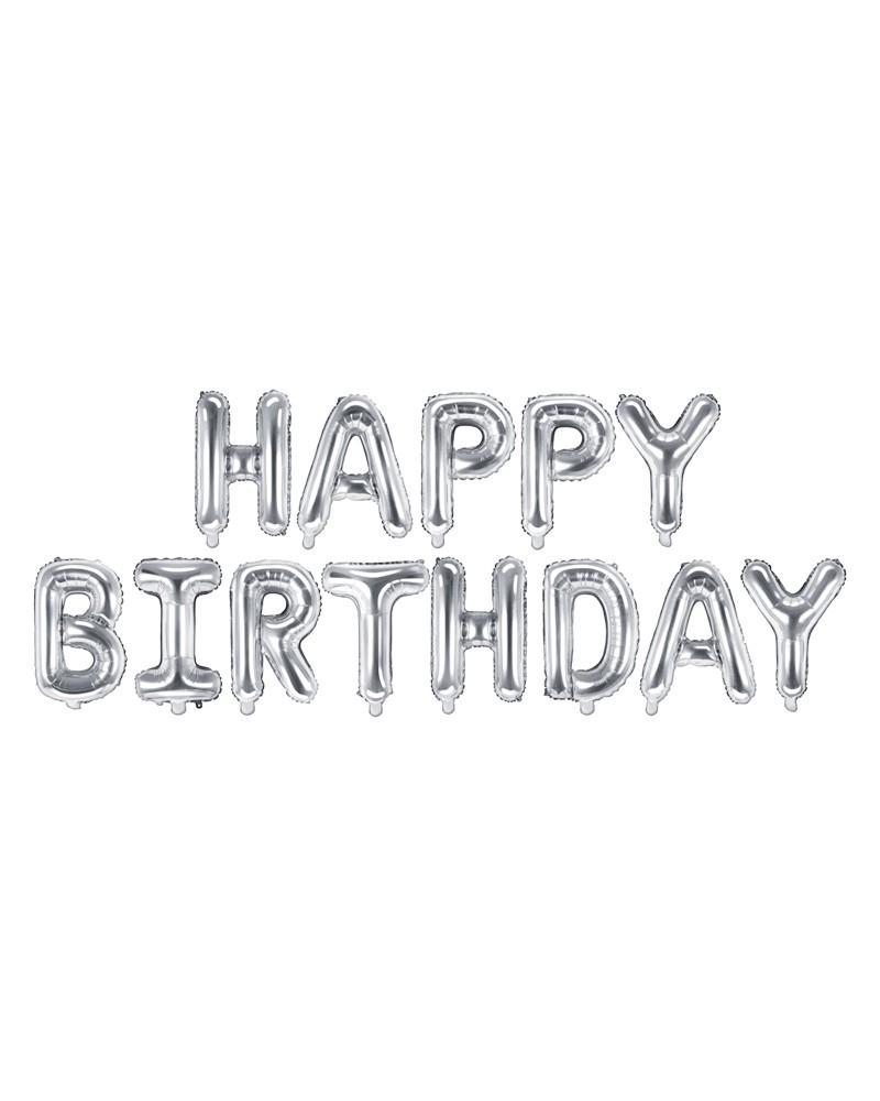 Balon foliowy HAPPY BIRTHDAY napis srebrny