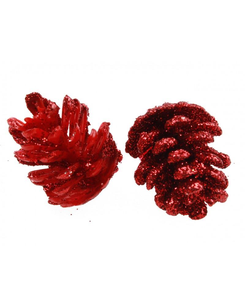 Szyszki brokatowe Czerwone