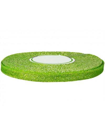 Wstążka tasiemka brokatowa 6mm c. zieleń