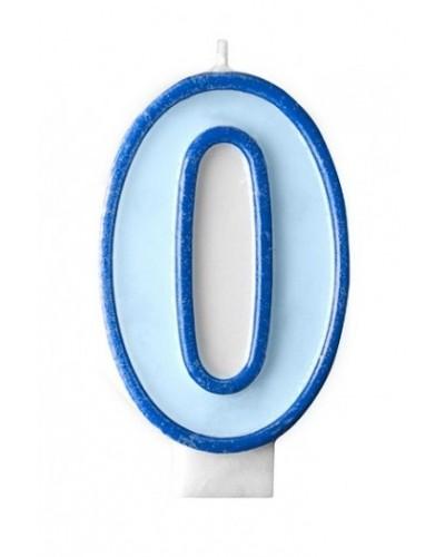 """Świeczka urodzinowa niebieska """"0"""""""