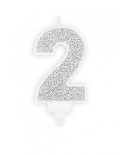 """Świeczka urodzinowa cyferka """"2"""""""