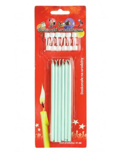 Świeczki urodzinowe długie Perłowe j.zielone