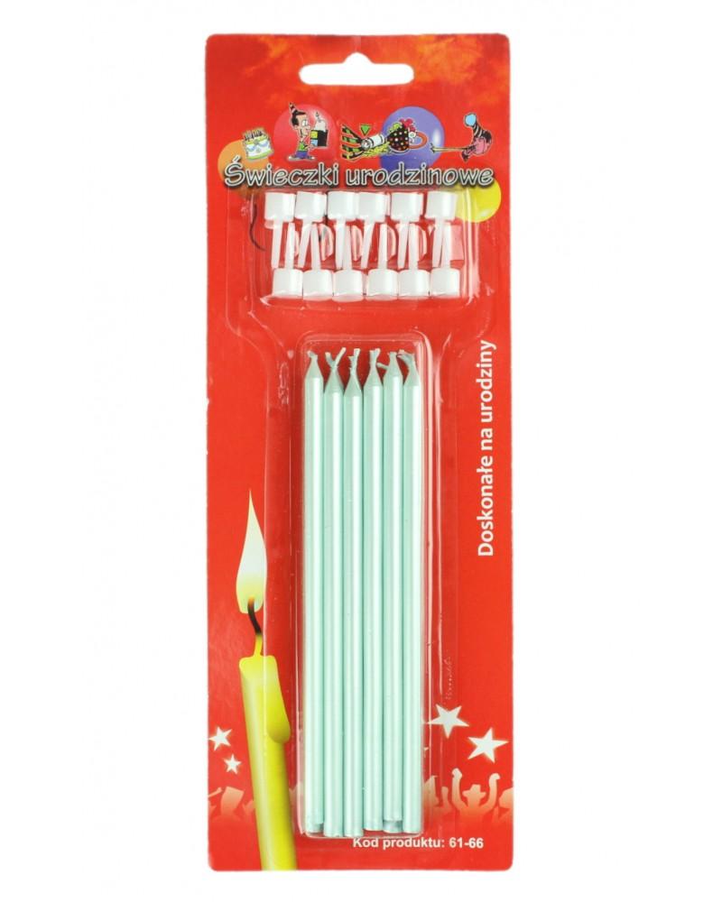 Świeczki urodzinowe długie Perłowe Błękitne