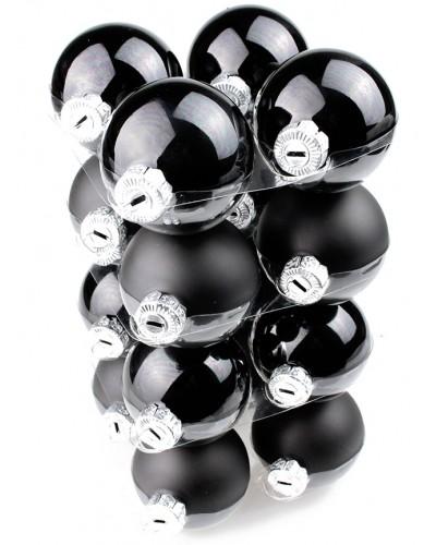 Bombki Szklane 6cm Czarne