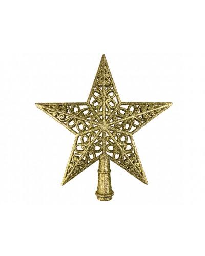 Czubek na choinkę Ażurowa Gwiazda Złota