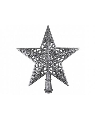 Czubek na choinkę Ażurowa Gwiazda Srerbrna