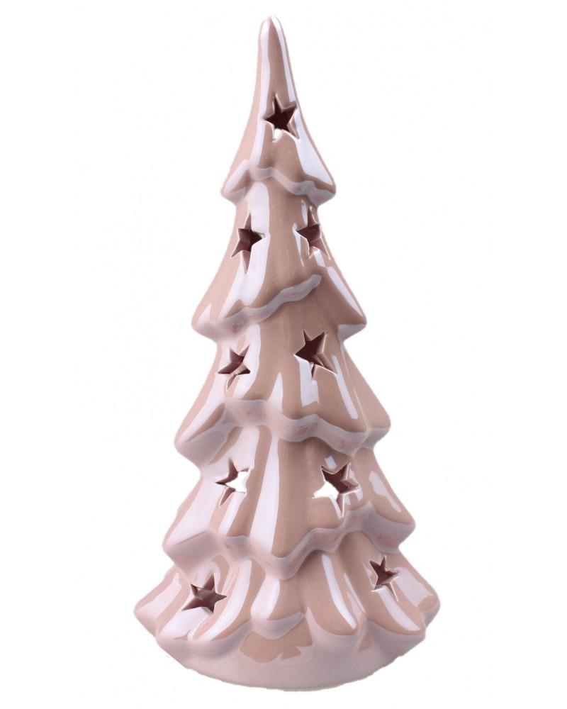 Ceramiczny świecznik, figurka choinka - różowa